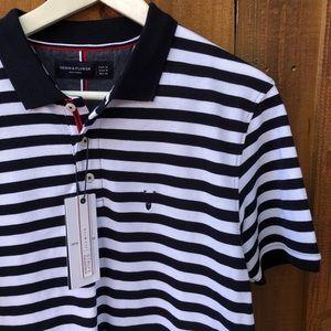Navy Blue White Stripe Polo Shirt Denim & Flower M